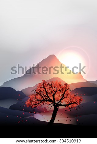 sunrise in the mountains with