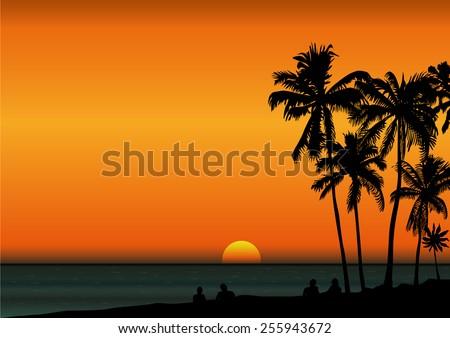 sunrise in tropical seashore