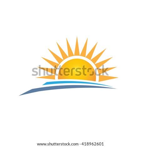 sunrise logo design vector