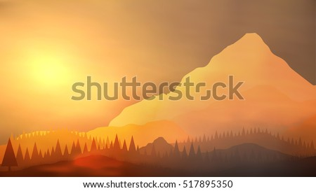 sunrise mountain with pine