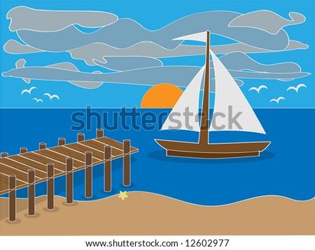 sunrise near dock on beach with