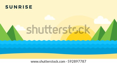 sunrise on the beach vector