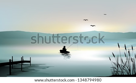 sunrise on the lake and a