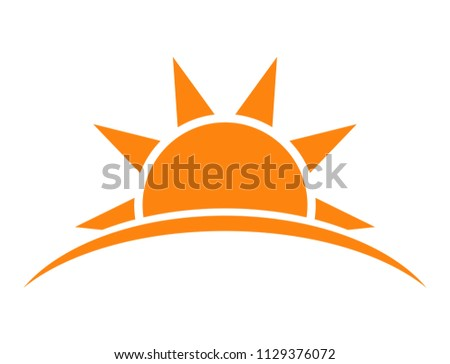 Sunrise or sunset icon isolated over white background