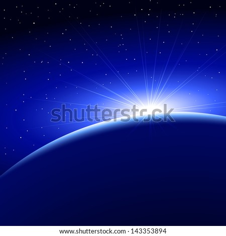 sunrise over a planet in space