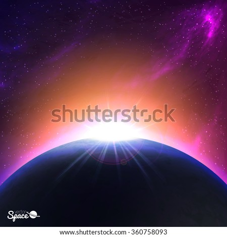 sunrise over earth like planet