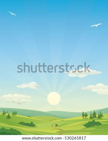 sunrise over idyllic landscape
