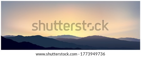sunrise over the mountains in