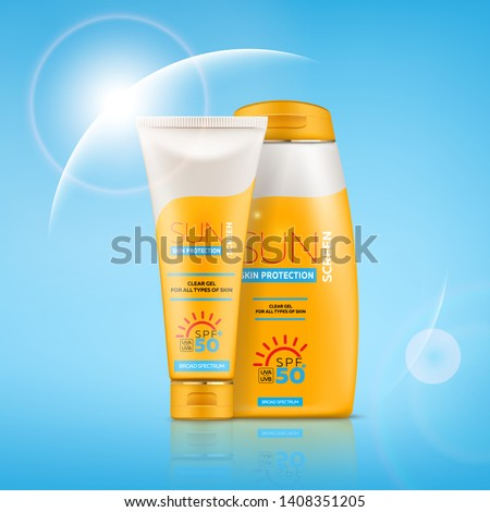 Sunscreen cream realistic 3d tube and bottle with gel or cream for skin protection and UVA/UVB rays blocking. Ready for branding, packaging and advertising design. High quality realistic vector.