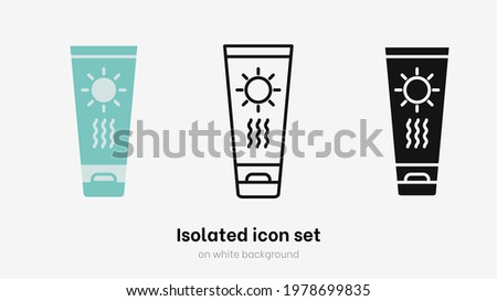 Sunscreen icon set isolted on white bckground.  Protection for skin from sun in tube isolated vector illustration set. Sunscreen cream tube for summer and skincare vector Stock photo ©