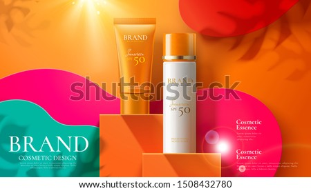 Sunscreen product ads on orange square podium and paper art background in 3d illustration