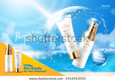 Sunscreen product ads with water protective shield in ball shape on bokeh beach background, 3d illustration Stock foto ©