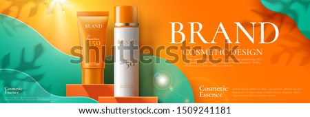 Sunscreen product banner ads on orange square podium and paper art background in 3d illustration