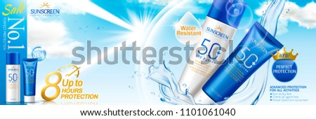 Sunscreen spray and cream set with watery slpashing liquid witch can reflect UV rays, glitter blue background in 3d illustration