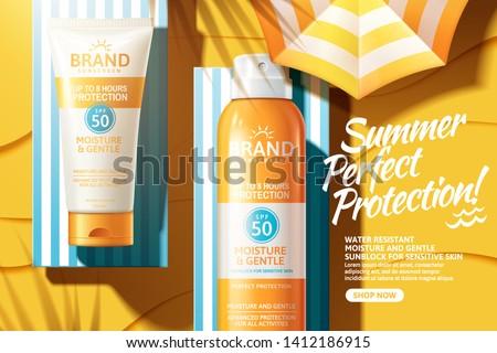sunscreen spray and tube ads
