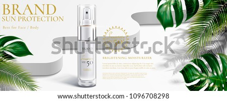 Sunscreen spray with tropical leaves decoration on white background in 3d illustration