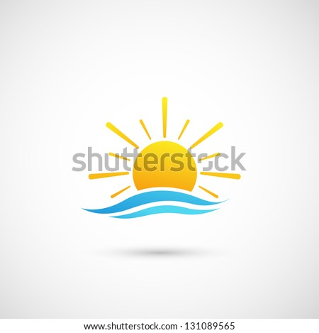 sunset and  sea waves vector