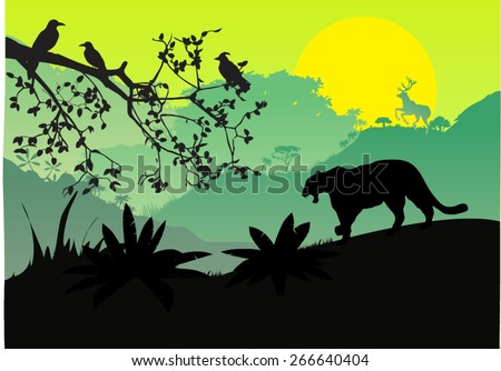 sunset and silhouettes of