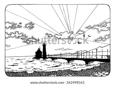 sunset and the lighthouse