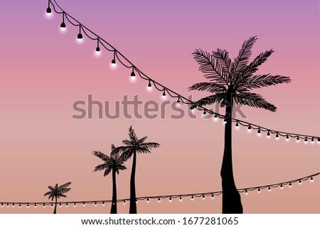 sunset at a festive beach