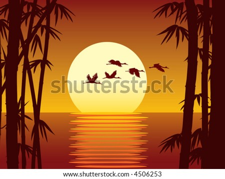 Sunset, bamboo forest and sea, vector