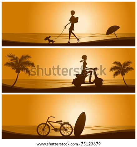 Sunset banner set. Illustration vector.
