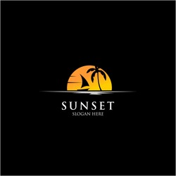 sunset beach and boat logo templates