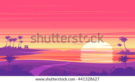 sunset beach landscape with