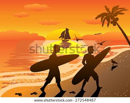 sunset beach surfers illustraion