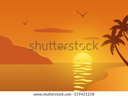 sunset beach with tropical palm