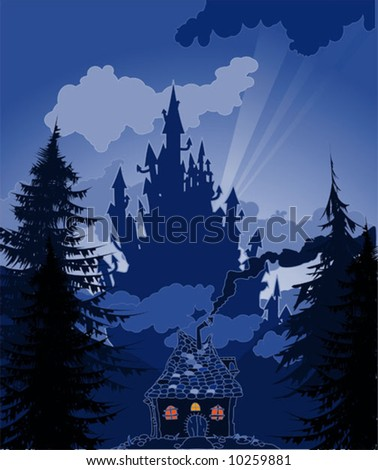 sunset castle vector