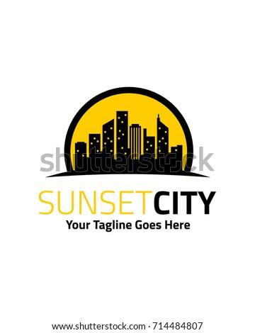 Sunset city logo template vector