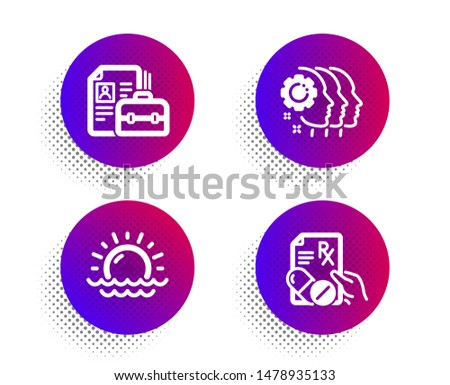 Sunset, Employees teamwork and Vacancy icons simple set. Halftone dots button. Prescription drugs sign. Sunny weather, Collaboration, Hiring job. Pills. Science set. Classic flat sunset icon. Vector