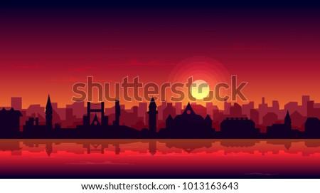 sunset glow  setting sun over