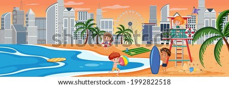 Sunset horizontal scene with many children on the beach and cityscape background illustration