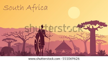 sunset in africa with the