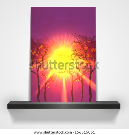 sunset in autumn forest vector