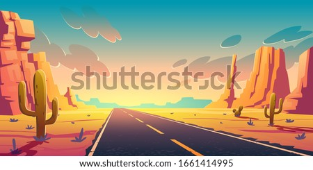 Sunset in desert with road, cactuses and rocks. Vector cartoon landscape of highway in Arizona or Mexico hot sand desert with orange mountains. Summer sunrise in western american valley ストックフォト ©