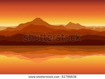sunset in huge mountains near