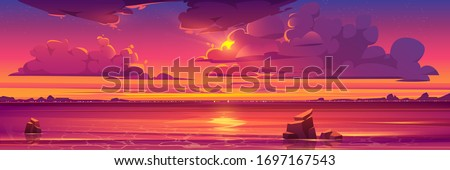 sunset in ocean  pink clouds in