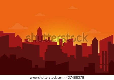 sunset in the city cityscape