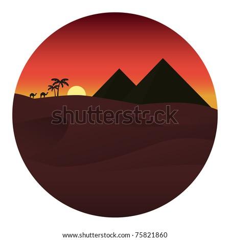 Sunset in the desert. Vector illustration - stock vector
