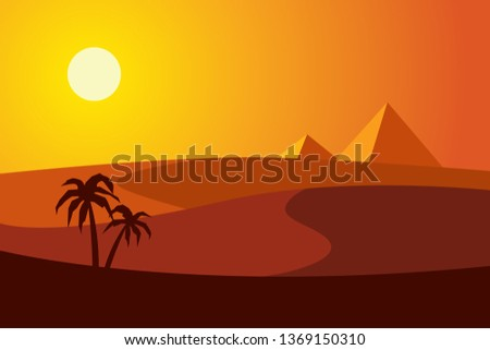 sunset in the desert with