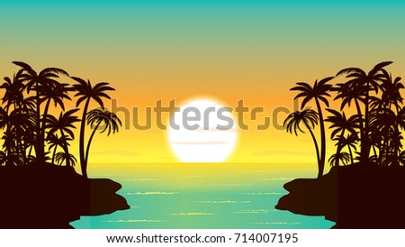 sunset in the ocean  palm coast