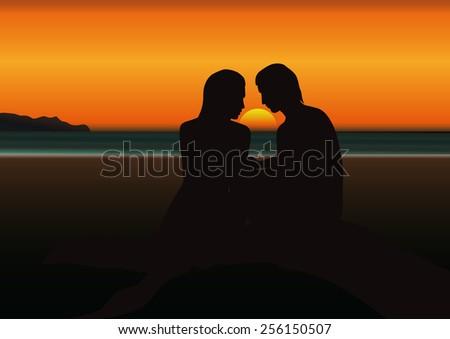sunset in tropical seashore