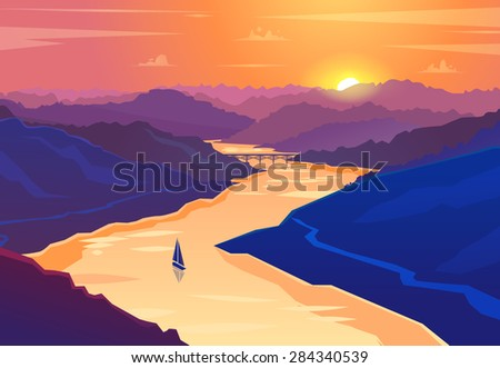 sunset landscape vector design
