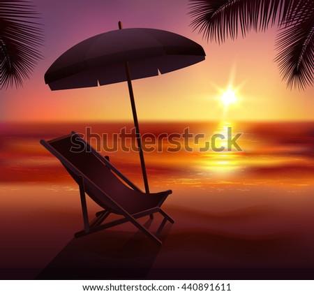 sunset lounge and umbrella on