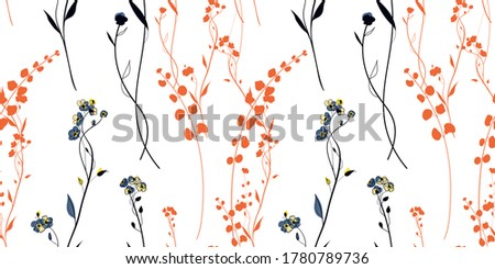 sunset meadow plants seamless