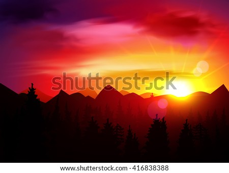 sunset mountains landscape