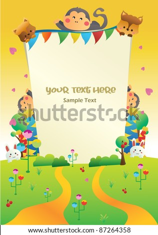 sunset nature cartoon party card you can put your text on the banner - stock vector